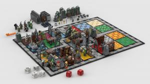 foto do tabuleiro e peças do board game Hero Quest no caixinha quantica